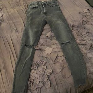 Zara grey faded rip jeans